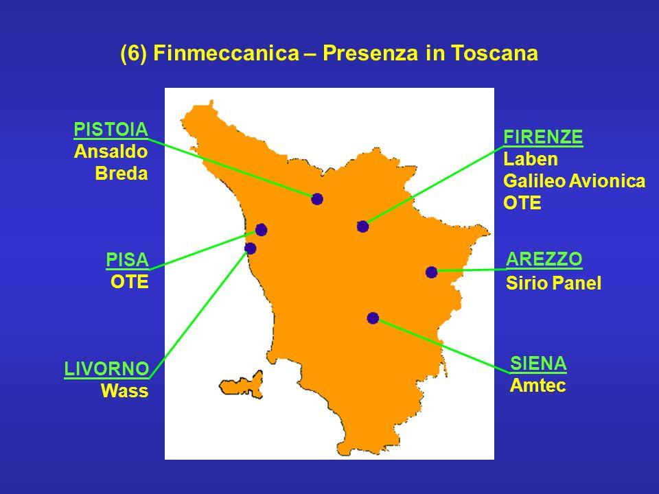 (6) Finmeccanica – Presenza in Toscana FIRENZE Laben Galileo Avionica OTE AREZZO Sirio Panel SIENA Amtec PISTOIA Ansaldo Breda PISA OTE LIVORNO Wass