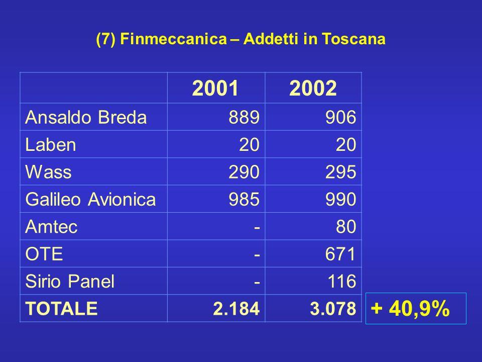 (7) Finmeccanica – Addetti in Toscana 20012002 Ansaldo Breda889906 Laben20 Wass290295 Galileo Avionica985990 Amtec-80 OTE-671 Sirio Panel-116 TOTALE2.1843.078 + 40,9%