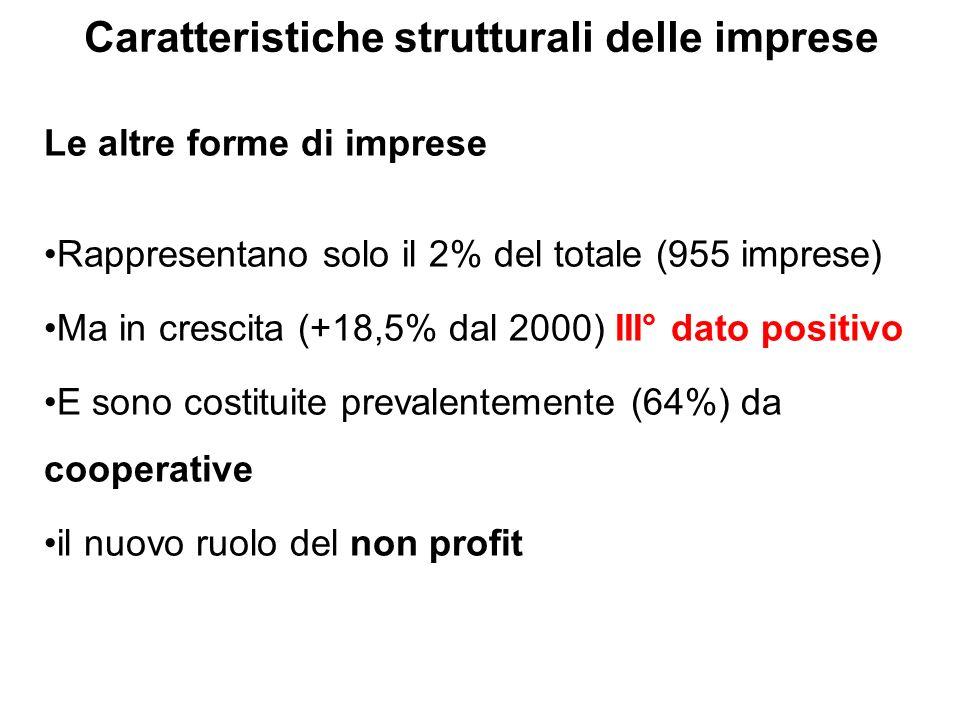 Le altre forme di imprese Rappresentano solo il 2% del totale (955 imprese) Ma in crescita (+18,5% dal 2000) III° dato positivo E sono costituite prevalentemente (64%) da cooperative il nuovo ruolo del non profit