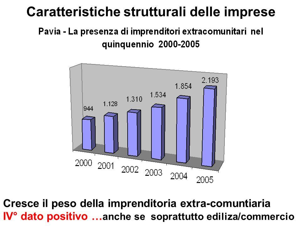 Caratteristiche strutturali delle imprese Cresce il peso della imprenditoria extra-comuntiaria IV° dato positivo … anche se soprattutto ediliza/commercio