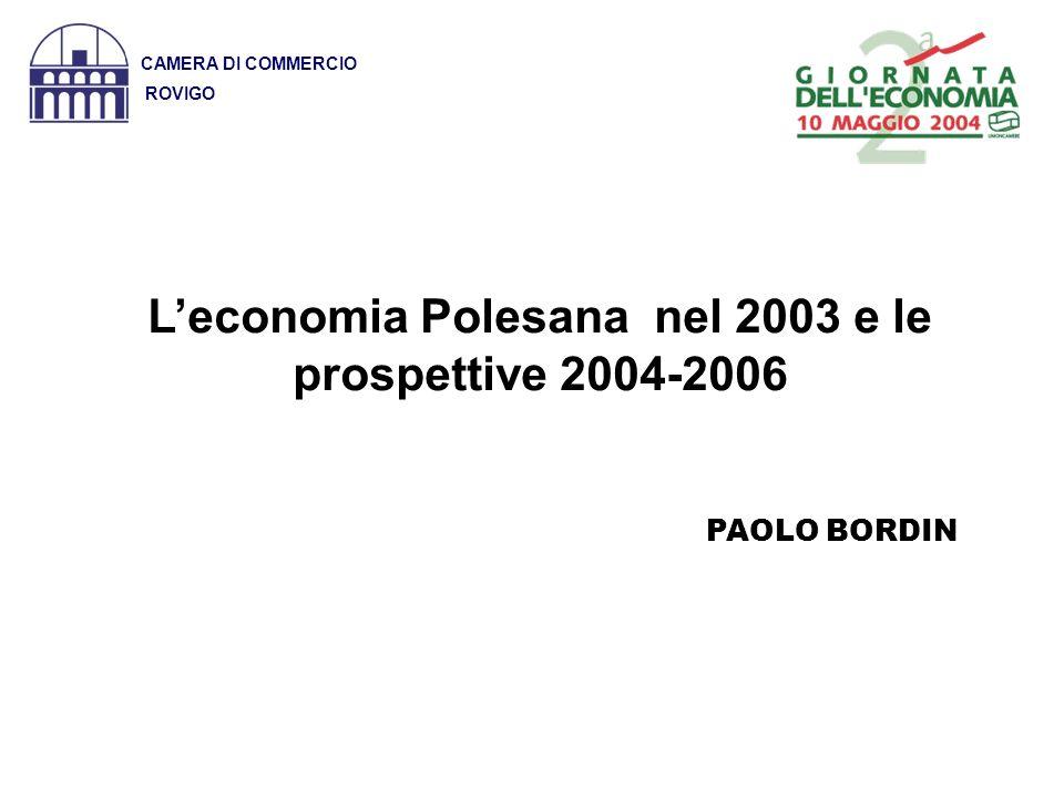Fonte: Istituto Tagliacarene e Unioncamere Veneto CAMERA DI COMMERCIO ROVIGO AREE200020012002 ROVIGO17.83518.39119.794 VENETO 20.97022.05722.495 ITALIA 18.26219.17119.677 VALORE AGGIUNTO PRO CAPITE (Valori in euro)
