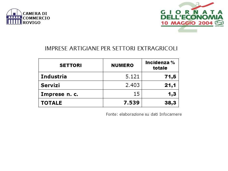 Fonte: elaborazione su dati Infocamere CAMERA DI COMMERCIO ROVIGO SETTORINUMERO Incidenza % totale Industria 5.121 71,5 Servizi 2.403 21,1 Imprese n.