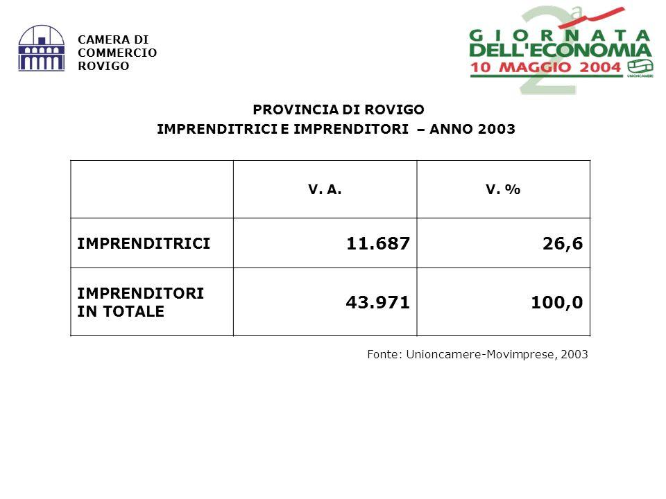 Fonte: Unioncamere-Movimprese, 2003 CAMERA DI COMMERCIO ROVIGO PROVINCIA DI ROVIGO IMPRENDITRICI E IMPRENDITORI – ANNO 2003 V. A.V. % IMPRENDITRICI 11