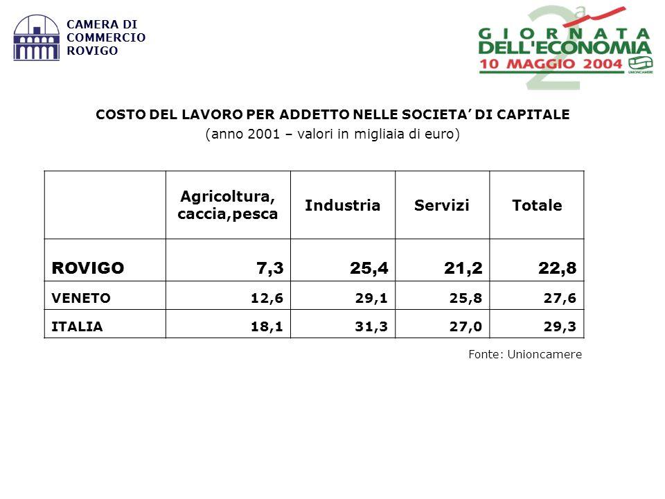 Fonte: Unioncamere COSTO DEL LAVORO PER ADDETTO NELLE SOCIETA DI CAPITALE (anno 2001 – valori in migliaia di euro) Agricoltura, caccia,pesca IndustriaServiziTotale ROVIGO7,325,421,222,8 VENETO12,629,125,827,6 ITALIA18,131,327,029,3 CAMERA DI COMMERCIO ROVIGO