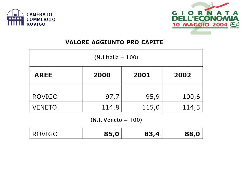 VALORE AGGIUNTO PRO CAPITE (N.I Italia = 100) AREE200020012002 ROVIGO97,795,9100,6 VENETO114,8115,0114,3 (N.I.