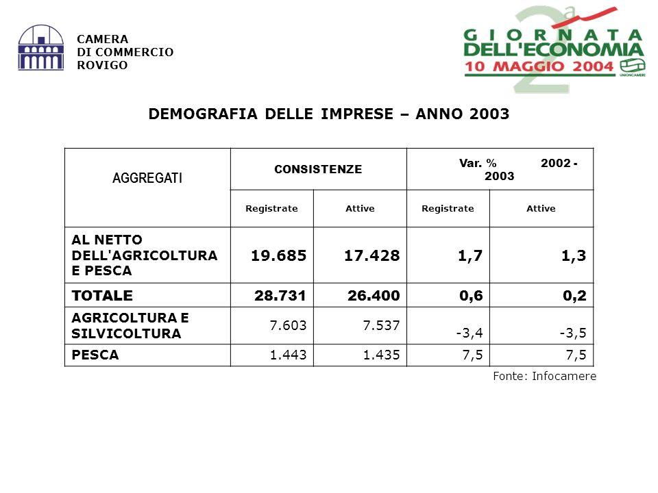 Fonte: Infocamere CAMERA DI COMMERCIO ROVIGO AGGREGATI CONSISTENZE Var. % 2002 - 2003 RegistrateAttiveRegistrateAttive AL NETTO DELL'AGRICOLTURA E PES