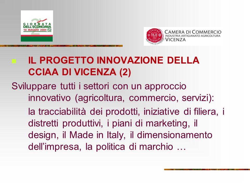 IL PROGETTO INNOVAZIONE DELLA CCIAA DI VICENZA (2) Sviluppare tutti i settori con un approccio innovativo (agricoltura, commercio, servizi): la tracciabilità dei prodotti, iniziative di filiera, i distretti produttivi, i piani di marketing, il design, il Made in Italy, il dimensionamento dellimpresa, la politica di marchio …