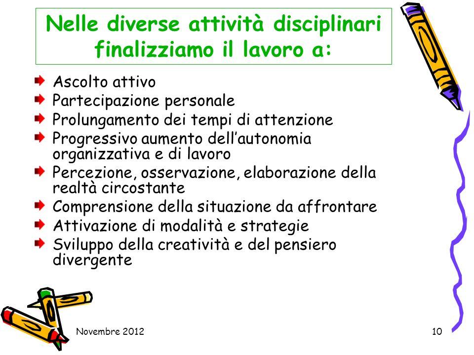 Novembre 201210 Nelle diverse attività disciplinari finalizziamo il lavoro a: Ascolto attivo Partecipazione personale Prolungamento dei tempi di atten