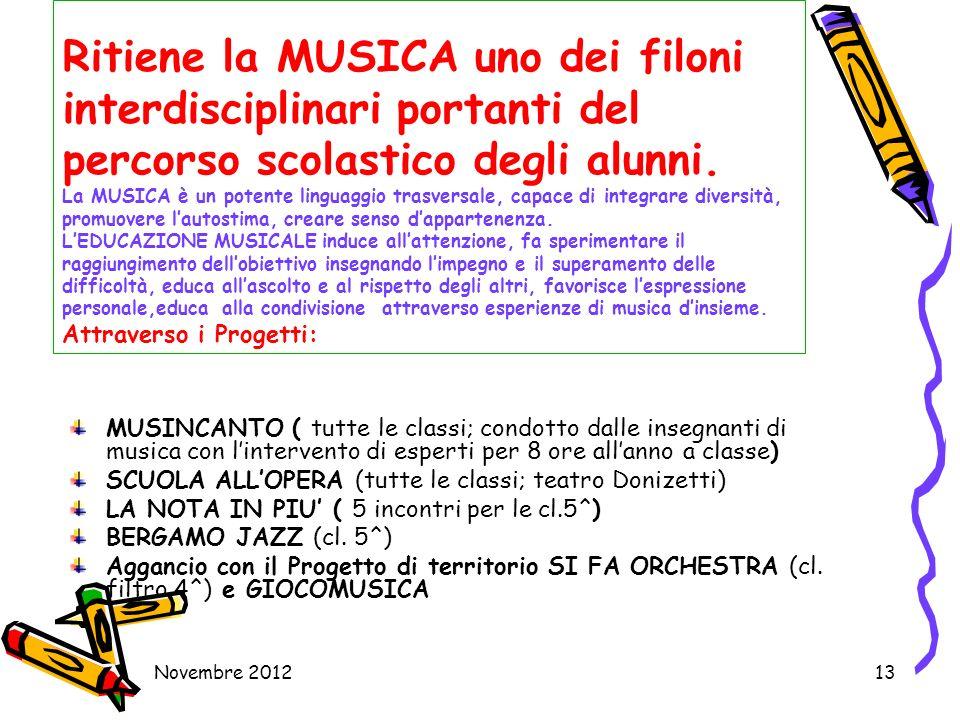 Novembre 201213 Ritiene la MUSICA uno dei filoni interdisciplinari portanti del percorso scolastico degli alunni. La MUSICA è un potente linguaggio tr
