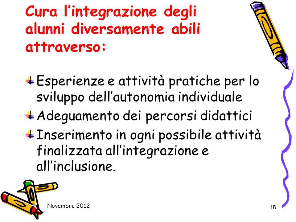 18 Cura lintegrazione degli alunni diversamente abili attraverso: Esperienze e attività pratiche per lo sviluppo dellautonomia individuale Adeguamento
