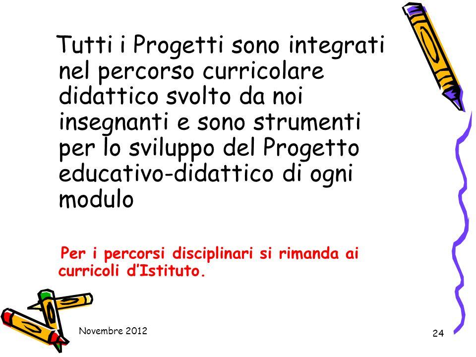 24 Tutti i Progetti sono integrati nel percorso curricolare didattico svolto da noi insegnanti e sono strumenti per lo sviluppo del Progetto educativo