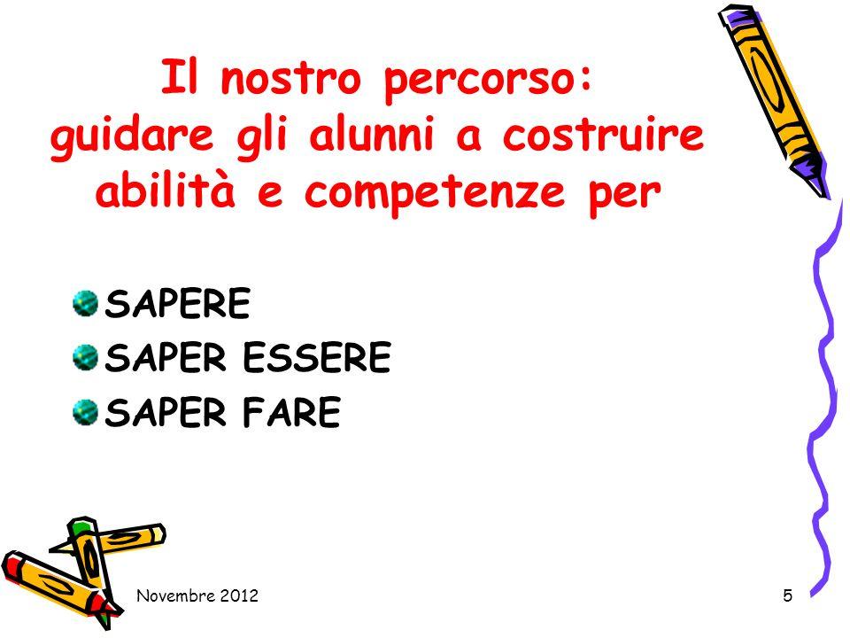 Il nostro percorso: guidare gli alunni a costruire abilità e competenze per SAPERE SAPER ESSERE SAPER FARE Novembre 20125