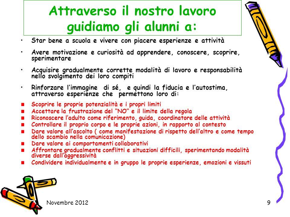 Novembre 20129 Attraverso il nostro lavoro guidiamo gli alunni a: Star bene a scuola e vivere con piacere esperienze e attività Avere motivazione e cu