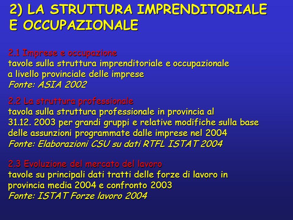 2.2 La struttura professionale tavola sulla struttura professionale in provincia al 31.12.