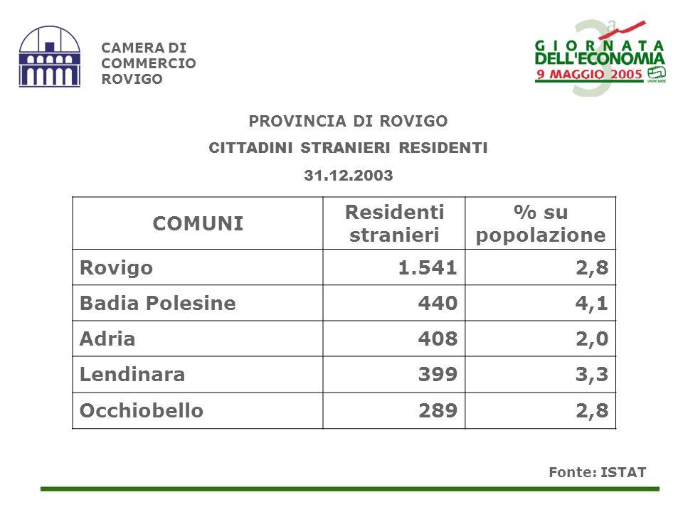 Fonte: ISTAT CAMERA DI COMMERCIO ROVIGO COMUNI Residenti stranieri % su popolazione Rovigo1.5412,8 Badia Polesine4404,1 Adria4082,0 Lendinara3993,3 Occhiobello2892,8 PROVINCIA DI ROVIGO CITTADINI STRANIERI RESIDENTI 31.12.2003