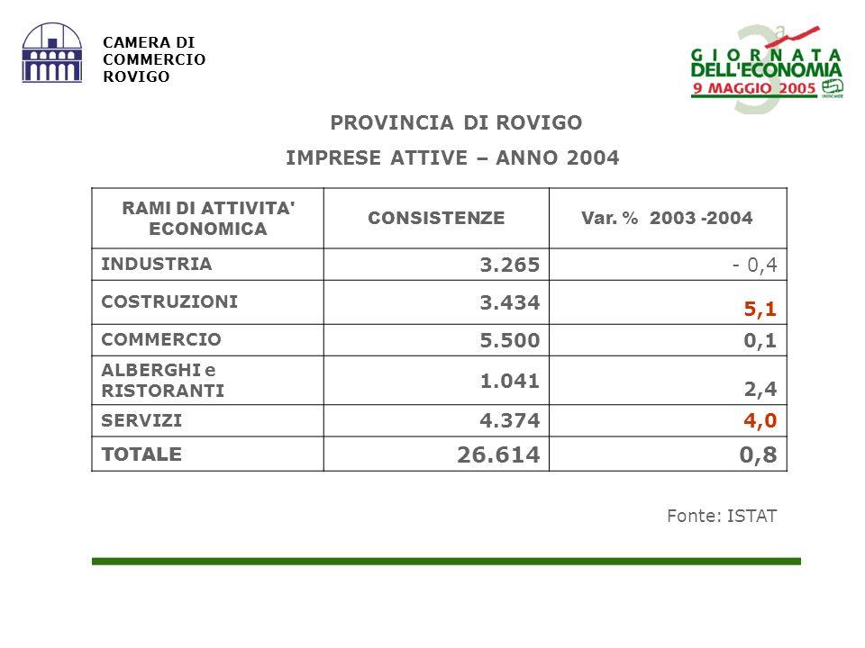 Fonte: ISTAT CAMERA DI COMMERCIO ROVIGO RAMI DI ATTIVITA ECONOMICA CONSISTENZEVar.