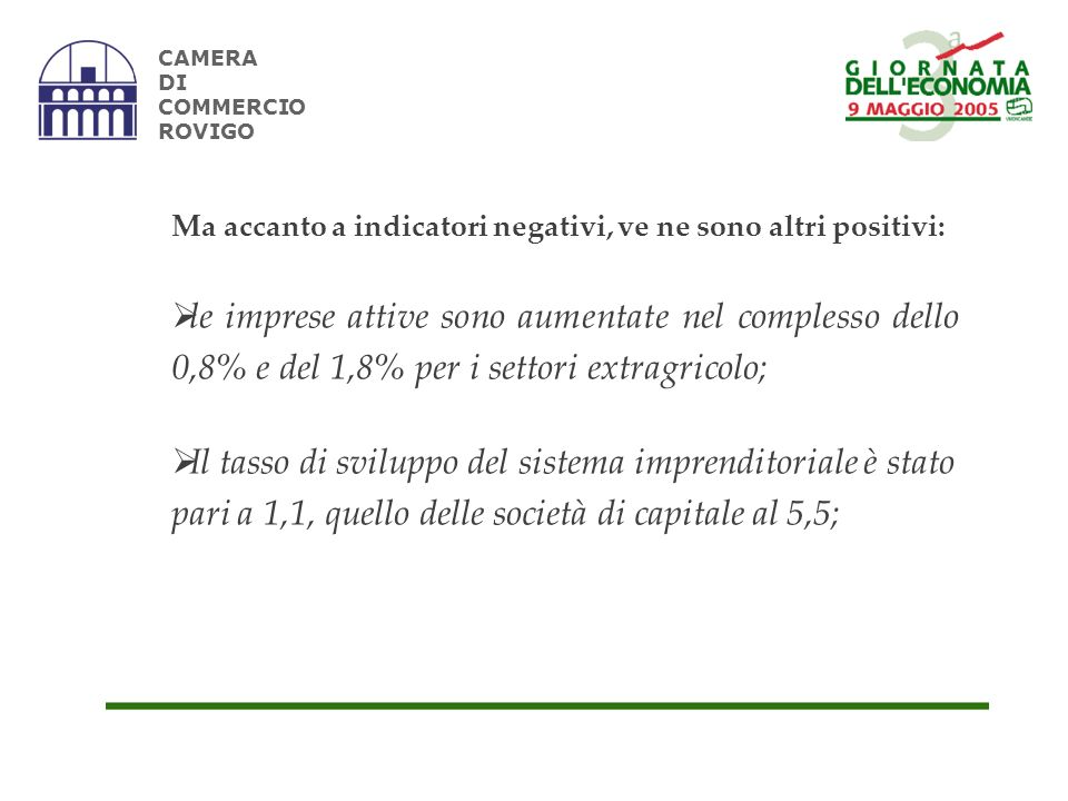 CAMERA DI COMMERCIO ROVIGO Ma accanto a indicatori negativi, ve ne sono altri positivi: le imprese attive sono aumentate nel complesso dello 0,8% e del 1,8% per i settori extragricolo; Il tasso di sviluppo del sistema imprenditoriale è stato pari a 1,1, quello delle società di capitale al 5,5;