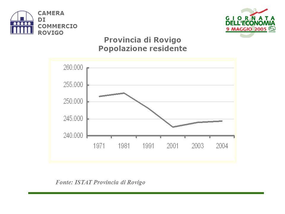 CAMERA DI COMMERCIO ROVIGO PROVINCIA DI ROVIGO SALDI DEL MOVIMENTO DEMOGRAFICO Fonte: US Provincia di Rovigo ANNO SALDO NATURALE SALDO MIGRATORIO SALDO DEMOGRAFICO 2000 -951723-228 2001 -1.005521-484 2002 -1.0871.310223 2003 - 1.1352.3561.221
