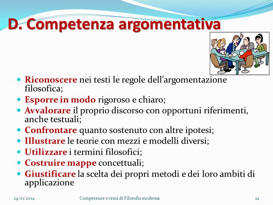 C. Competenza euristica metodologia Scegliere una metodologia funzionale al risultato da raggiungere Elaborare e condurre percorsi inferenziali; alter