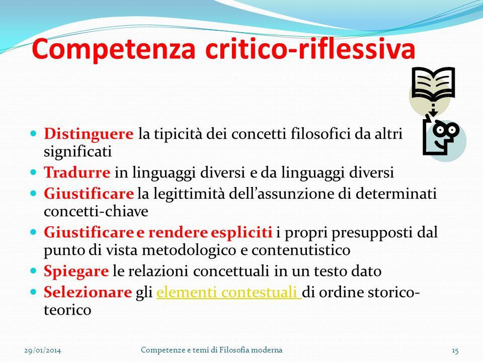 D. Competenza argomentativa Riconoscere nei testi le regole dellargomentazione filosofica; Esporre in modo rigoroso e chiaro; Avvalorare il proprio di