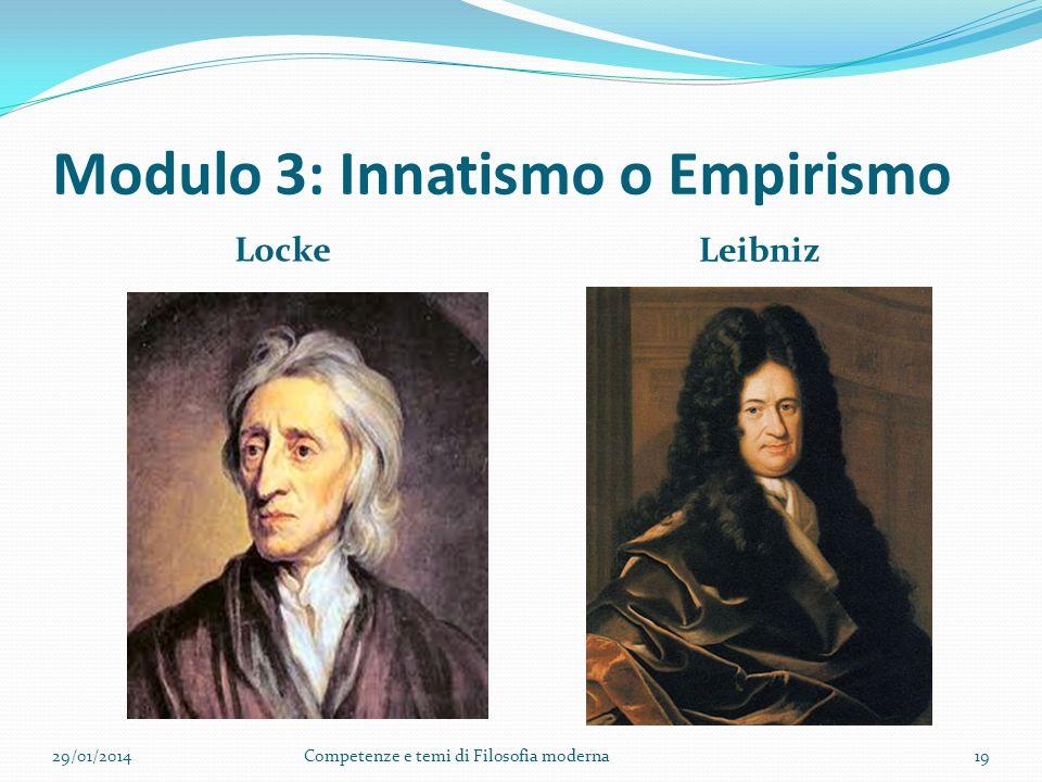 Modulo 3: Innatismo o Empirismo Locke Leibniz 29/01/2014Competenze e temi di Filosofia moderna19