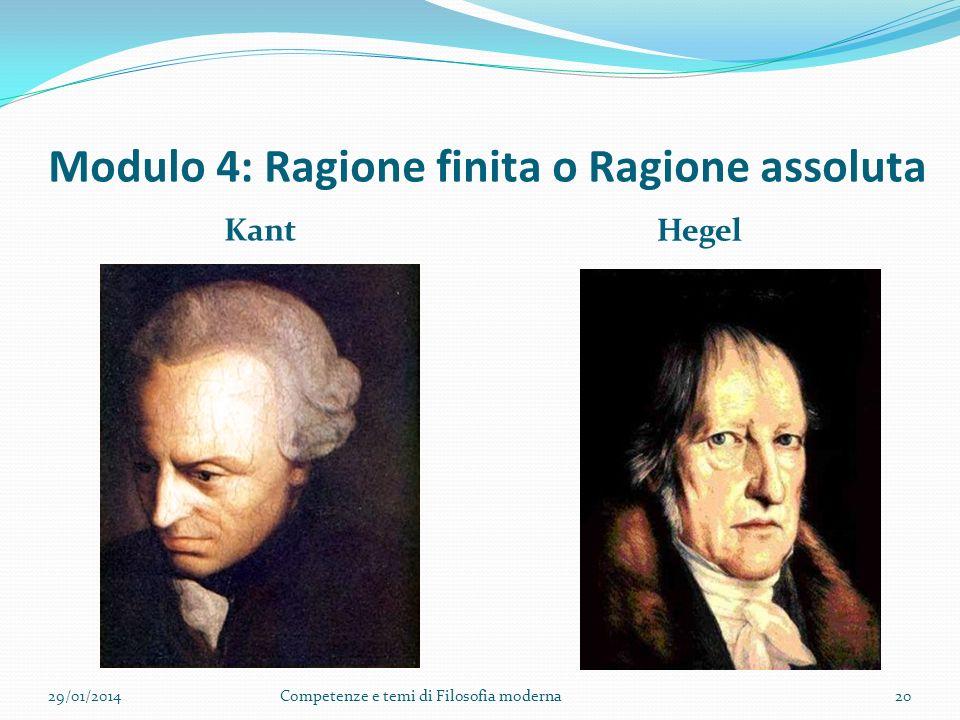 Modulo 4: Ragione finita o Ragione assoluta Kant Hegel 29/01/2014Competenze e temi di Filosofia moderna20