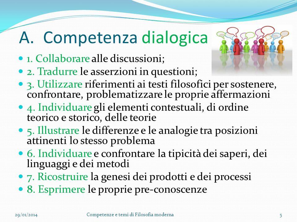 A.Competenza dialogica 1. Collaborare alle discussioni; 2.