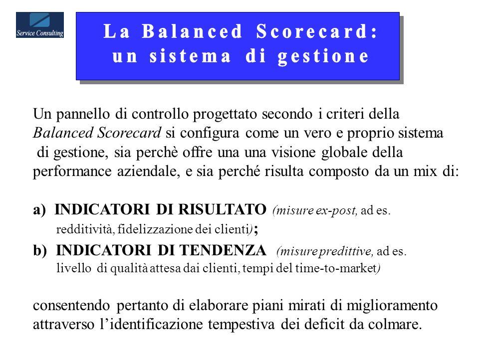 Un pannello di controllo progettato secondo i criteri della Balanced Scorecard si configura come un vero e proprio sistema di gestione, sia perchè offre una una visione globale della performance aziendale, e sia perché risulta composto da un mix di: a) INDICATORI DI RISULTATO (misure ex-post, ad es.