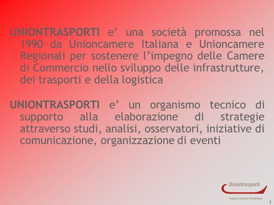 2 UNIONTRASPORTI e una società promossa nel 1990 da Unioncamere Italiana e Unioncamere Regionali per sostenere limpegno delle Camere di Commercio nell