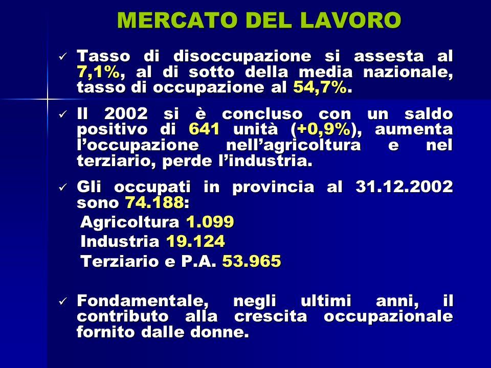 MERCATO DEL LAVORO Tasso di disoccupazione si assesta al 7,1%, al di sotto della media nazionale, tasso di occupazione al 54,7%.
