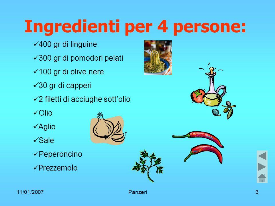 11/01/2007Panzeri3 Ingredienti per 4 persone: 400 gr di linguine 300 gr di pomodori pelati 100 gr di olive nere 30 gr di capperi 2 filetti di acciughe sottolio Olio Aglio Sale Peperoncino Prezzemolo
