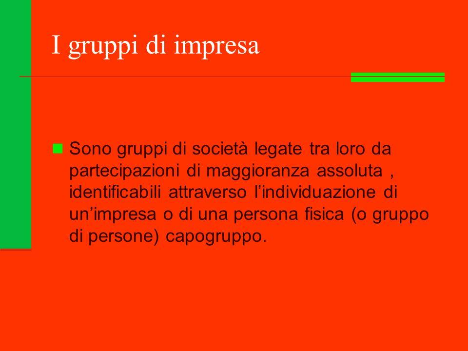 I gruppi di impresa Sono gruppi di società legate tra loro da partecipazioni di maggioranza assoluta, identificabili attraverso lindividuazione di unimpresa o di una persona fisica (o gruppo di persone) capogruppo.