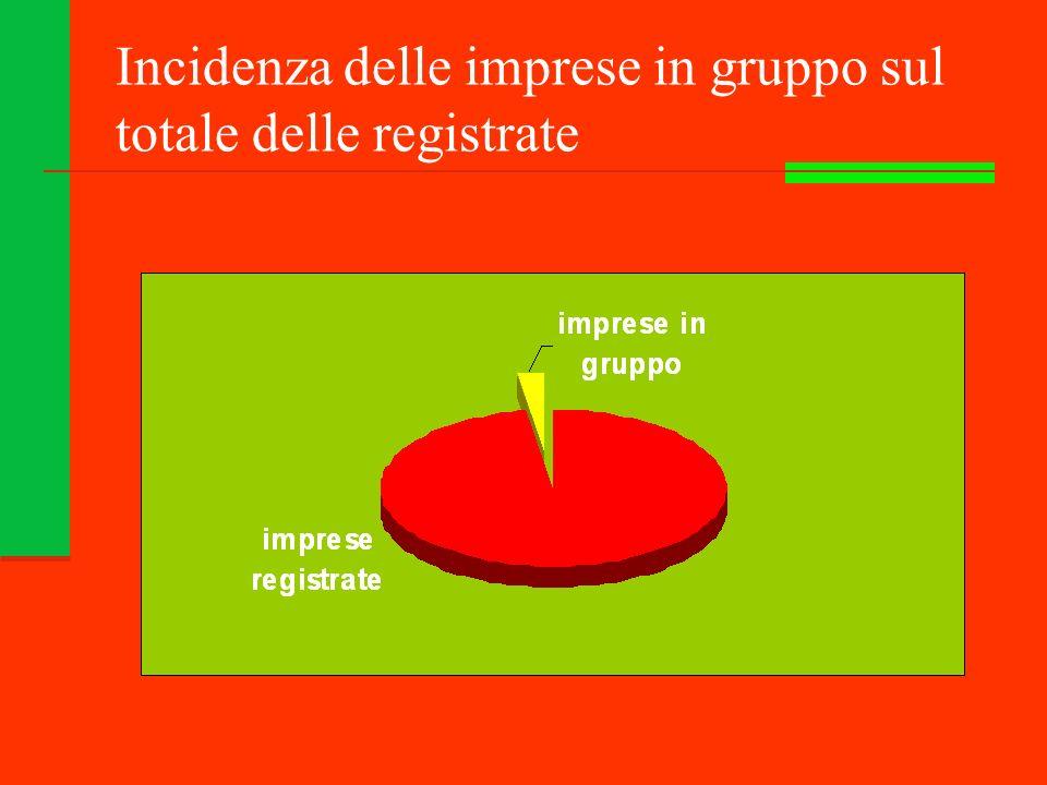 Incidenza delle imprese in gruppo sul totale delle registrate