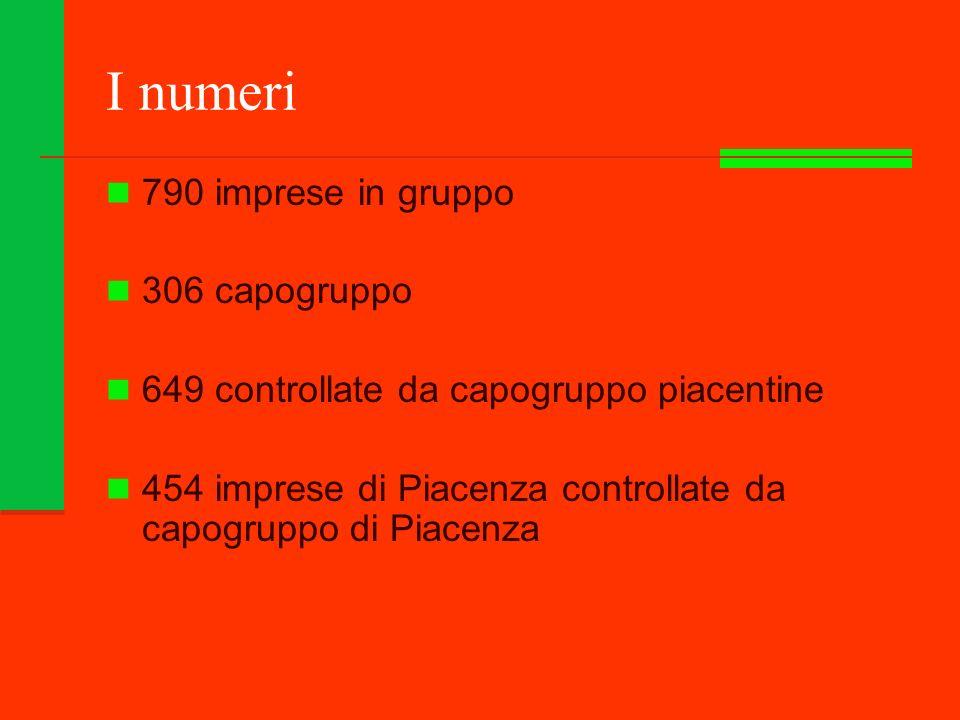 I numeri 790 imprese in gruppo 306 capogruppo 649 controllate da capogruppo piacentine 454 imprese di Piacenza controllate da capogruppo di Piacenza