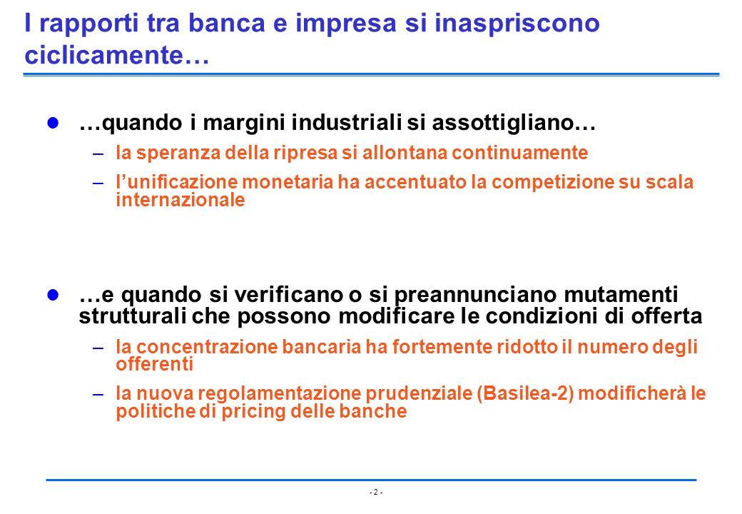 - 2 - I rapporti tra banca e impresa si inaspriscono ciclicamente… …quando i margini industriali si assottigliano… –la speranza della ripresa si allon