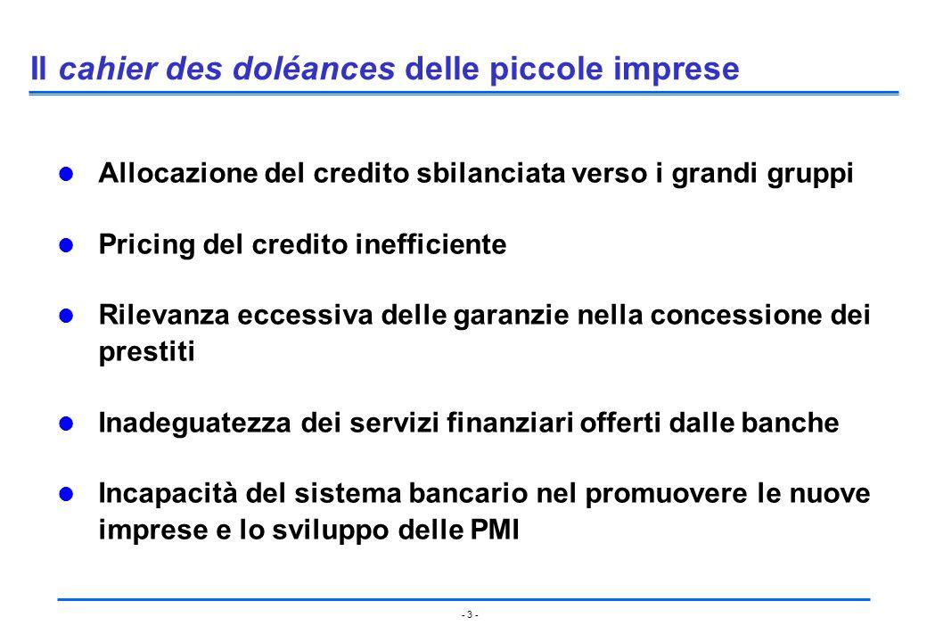 - 3 - Il cahier des doléances delle piccole imprese Allocazione del credito sbilanciata verso i grandi gruppi Pricing del credito inefficiente Rilevan