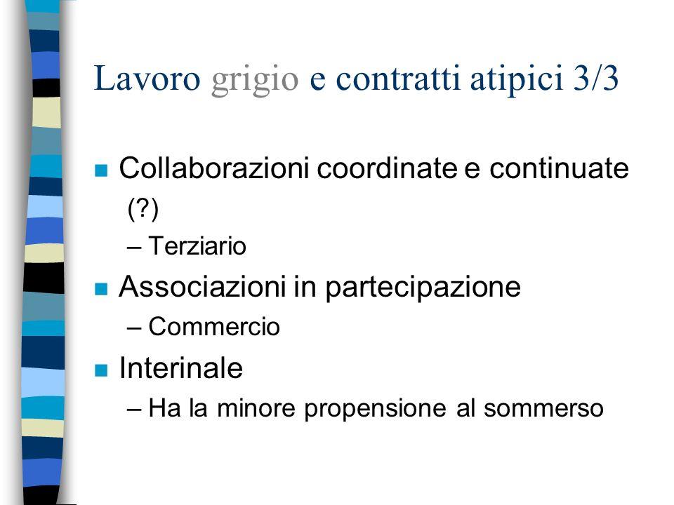 Lavoro grigio e contratti atipici 3/3 n Collaborazioni coordinate e continuate (?) –Terziario n Associazioni in partecipazione –Commercio n Interinale