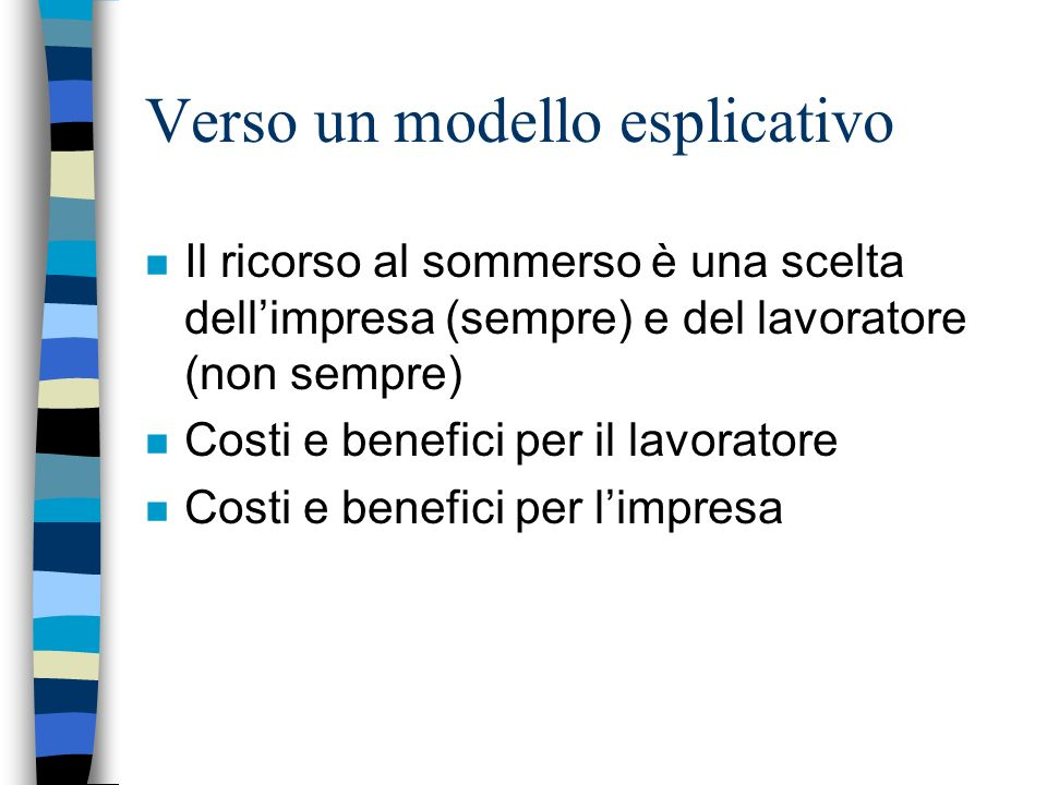 Verso un modello esplicativo n Il ricorso al sommerso è una scelta dellimpresa (sempre) e del lavoratore (non sempre) n Costi e benefici per il lavora