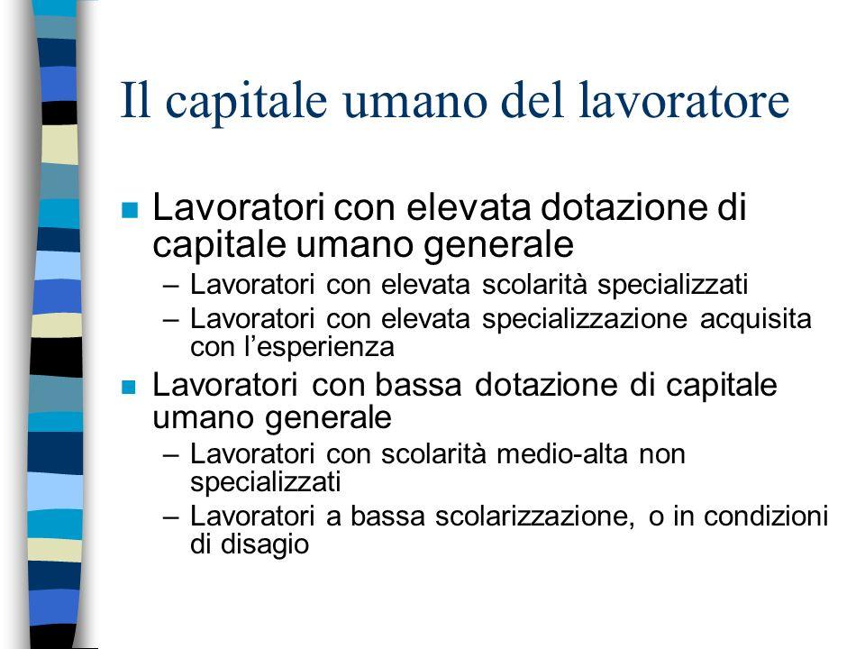 Il capitale umano del lavoratore n Lavoratori con elevata dotazione di capitale umano generale –Lavoratori con elevata scolarità specializzati –Lavora