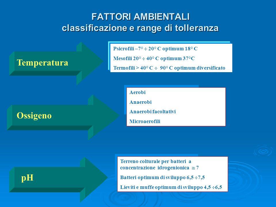 Temperatura ossigeno aerobi anaerobi anaerobi facoltativi