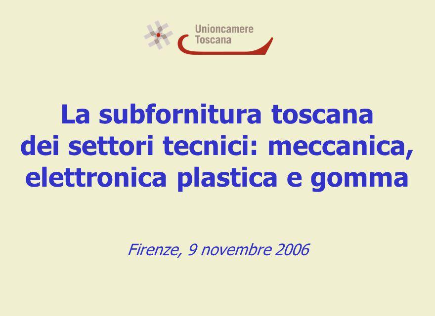 La subfornitura toscana dei settori tecnici: meccanica, elettronica plastica e gomma Firenze, 9 novembre 2006