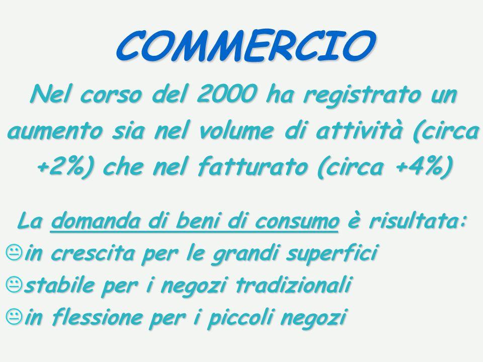 COMMERCIO Nel corso del 2000 ha registrato un aumento sia nel volume di attività (circa +2%) che nel fatturato (circa +4%) La domanda di beni di consu