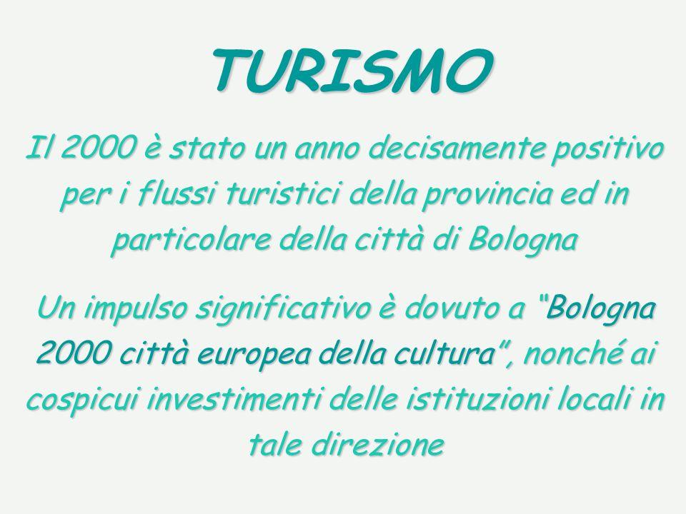 TURISMO Il 2000 è stato un anno decisamente positivo per i flussi turistici della provincia ed in particolare della città di Bologna Un impulso significativo è dovuto a Bologna 2000 città europea della cultura, nonché ai cospicui investimenti delle istituzioni locali in tale direzione
