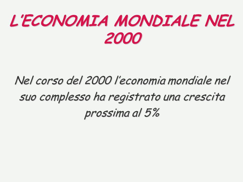 LECONOMIA MONDIALE NEL 2000 Nel corso del 2000 leconomia mondiale nel suo complesso ha registrato una crescita prossima al 5%
