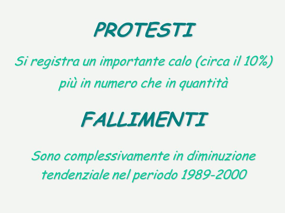 PROTESTI Si registra un importante calo (circa il 10%) più in numero che in quantità Sono complessivamente in diminuzione tendenziale nel periodo 1989-2000 FALLIMENTI