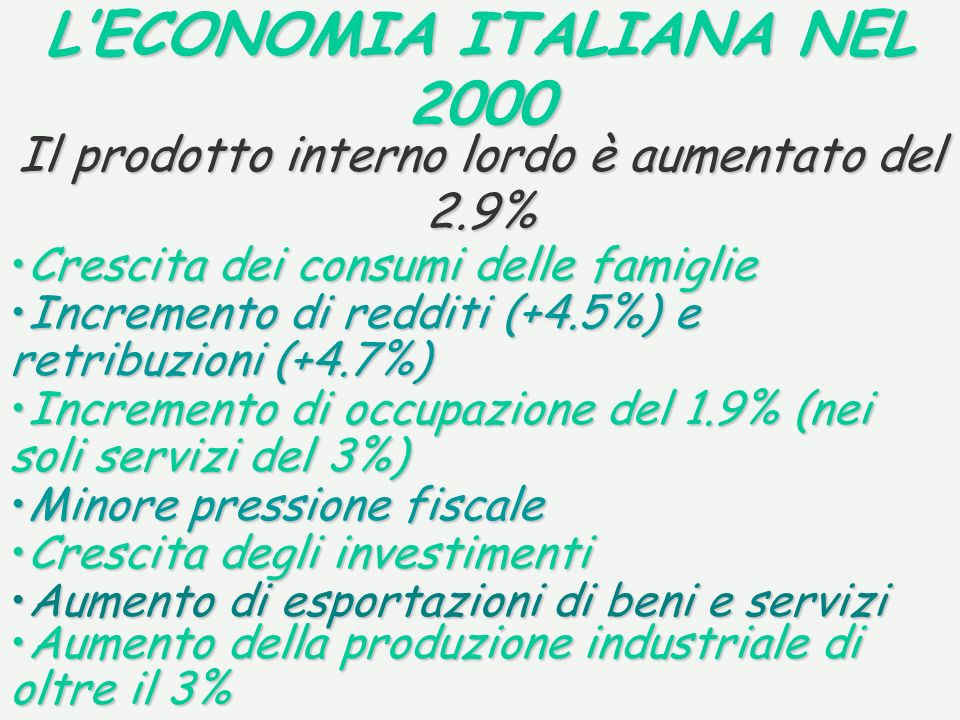 LECONOMIA ITALIANA NEL 2000 Il prodotto interno lordo è aumentato del 2.9% Crescita dei consumi delle famiglieCrescita dei consumi delle famiglie Incremento di occupazione del 1.9% (nei soli servizi del 3%)Incremento di occupazione del 1.9% (nei soli servizi del 3%) Minore pressione fiscaleMinore pressione fiscale Crescita degli investimentiCrescita degli investimenti Aumento della produzione industriale di oltre il 3%Aumento della produzione industriale di oltre il 3% Aumento di esportazioni di beni e serviziAumento di esportazioni di beni e servizi Incremento di redditi (+4.5%) e retribuzioni (+4.7%)Incremento di redditi (+4.5%) e retribuzioni (+4.7%)