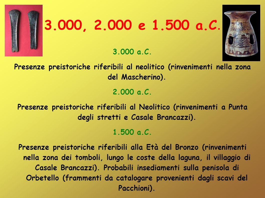 3.000, 2.000 e 1.500 a.C. 3.000 a.C. Presenze preistoriche riferibili al neolitico (rinvenimenti nella zona del Mascherino). 2.000 a.C. Presenze preis