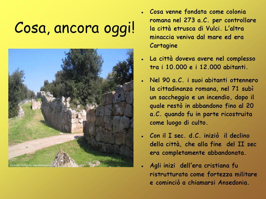 Cosa, ancora oggi! Cosa venne fondata come colonia romana nel 273 a.C. per controllare la città etrusca di Vulci. Laltra minaccia veniva dal mare ed e