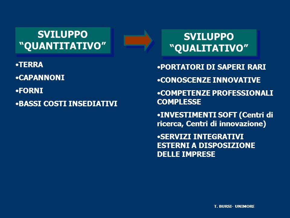 SVILUPPO QUANTITATIVO SVILUPPO QUALITATIVO TERRA CAPANNONI FORNI BASSI COSTI INSEDIATIVI PORTATORI DI SAPERI RARI CONOSCENZE INNOVATIVE COMPETENZE PROFESSIONALI COMPLESSE INVESTIMENTI SOFT (Centri di ricerca, Centri di innovazione) SERVIZI INTEGRATIVI ESTERNI A DISPOSIZIONE DELLE IMPRESE T.