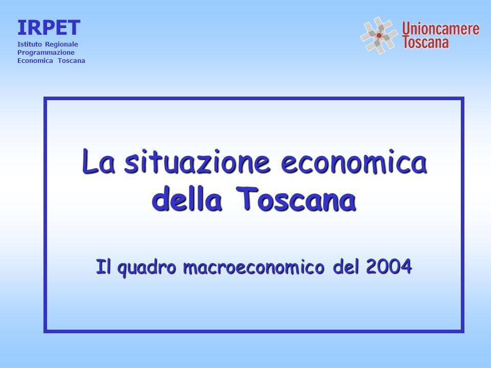La situazione economica della Toscana Il quadro macroeconomico del 2004 IRPET Istituto Regionale Programmazione Economica Toscana